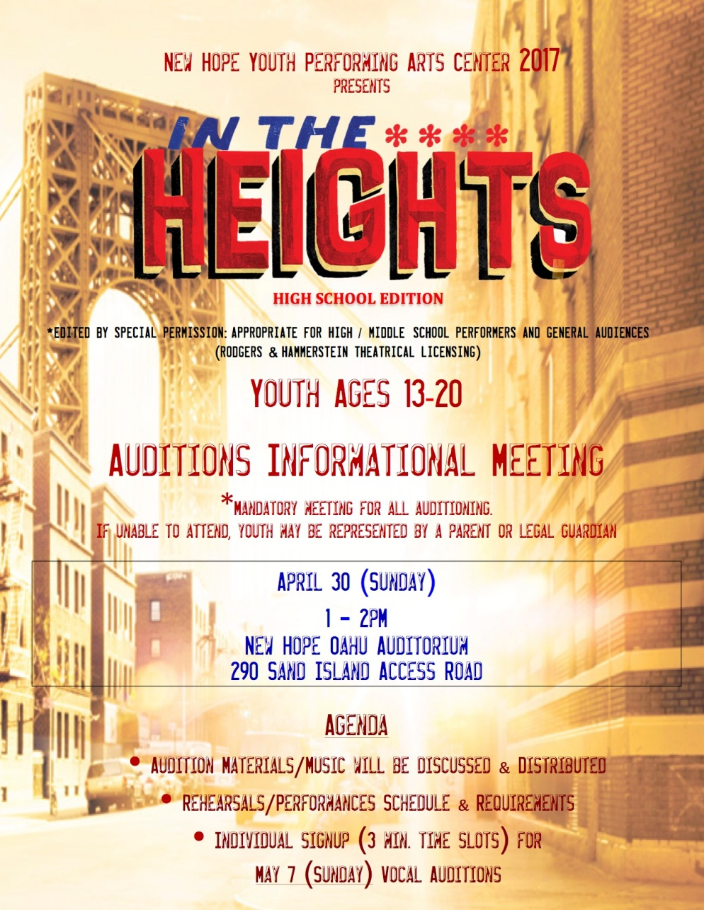 In the Heights INFO MEETING Flyer